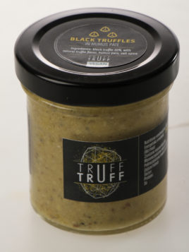Black truffle in hummus spread